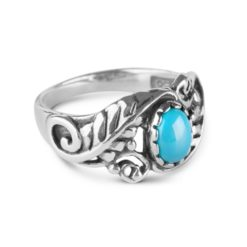 Sterling Silver Turquoise Gemstone Leaf Ring