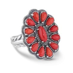 Sterling Silver Red Coral Gemstone Cluster Ring