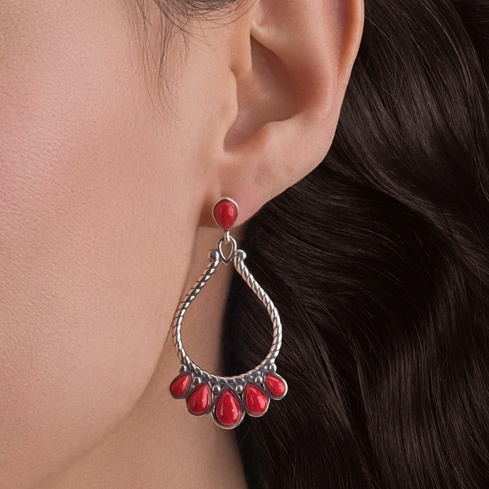 Sterling and Red Coral Frame Earrings