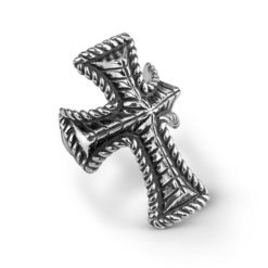 Sterling Silver Domed Rope Rib Cross Ring