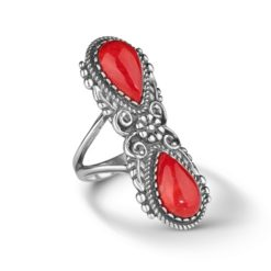 Sterling Silver Red Coral Elongated Ring