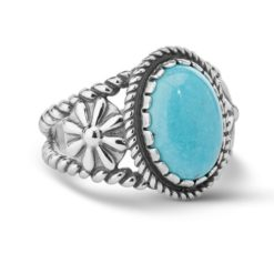 Sterling Silver Turquoise Bold Oval Ring
