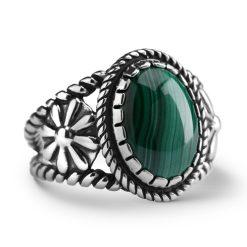 Sterling Silver Green Malachite Gemstone Ring