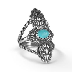 Sterling Silver Turquoise Concha Rope Ring