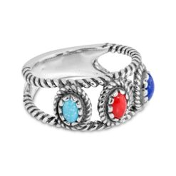 Sterling Silver Turquoise Coral Lapis Ring