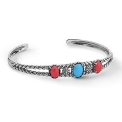 Sterling Silver Turquoise Coral Cuff Bracelet