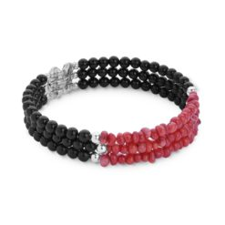 Sterling Silver Coral, Agate Beaded Coil Bracelet