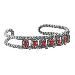 Sterling Silver Coral Rope Cuff Bracelet