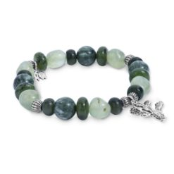 Sterling Silver Shades of Green Beaded Bracelet