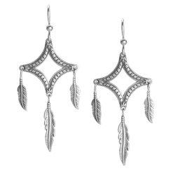 Sterling Silver Diamond Feather Dangle Earrings