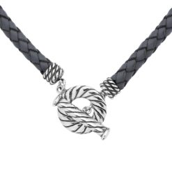 """Sterling Silver Grey Braided Leather Necklace 17"""""""