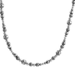 Sterling Silver Mixed Silver Beaded Necklace