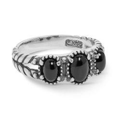 Sterling Silver Black Agate Gemstones Ring