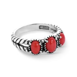 Sterling Silver Red Coral Gemstone Ring