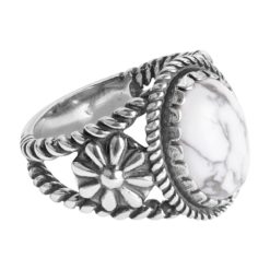 Sterling Silver White and Gray Howlite Bold Ring