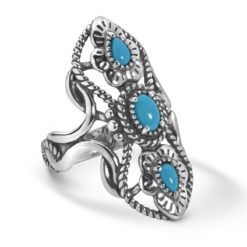 Sterling Silver Turquoise Elongated Rope Ring