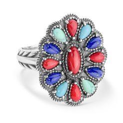 Sterling Silver Multi-Gemstone Cluster Ring