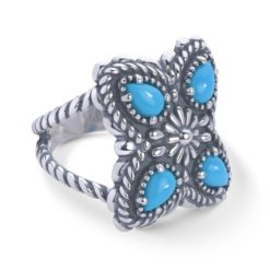Sterling Silver Turquoise Butterfly Concha Ring
