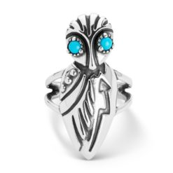 Sterling Silver Turquoise Gemstone Owl Ring