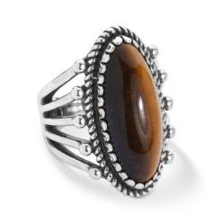 Sterling Silver Brown Tigers Eye Oval Ring