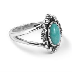 Sterling Silver Turquoise Gemstone Oval Ring