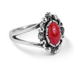 Sterling Silver Red Coral Gemstone Oval Ring