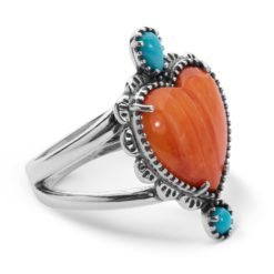 Sterling Silver Spiny Turquoise Heart Ring