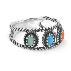 Sterling Silver Multi Gemstone Band Ring