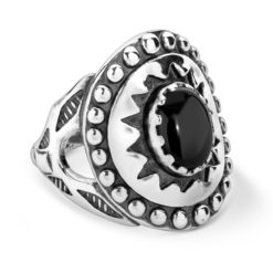 Sterling Silver Black Agate Oval Ring