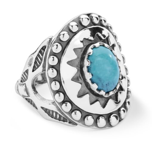 Sterling Silver Turquoise Ancient Wisdom Ring